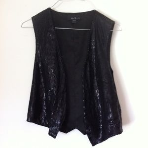 Twentyone Black Sequin Small Open Front Vest